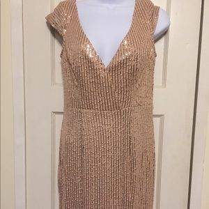Lulus Rose Gold Sequence Gown With Front Slit